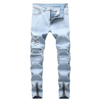 Gersri stretch men Knee Ripped Skinny jeans urban clothing punk korean fashion denim designer distressed Joggers Pants