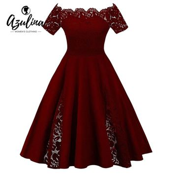 AZULINA Plus Size Lace Panel Off The Shoulder Dress Women Vintage Flare Party Dress Robes 2018 Retro Ladies Dresses Vestidos 5XL