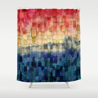 Blue Tide Mosaic Shower Curtain by Aloke Photography & Design