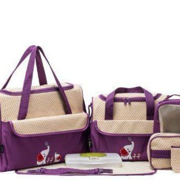 SOHO Collections, 10 Pieces Diaper Bag Set (Lavender with Elephant)