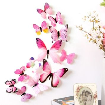 New Wall Stickers 12pcs Decal Wall Stickers Home Decorations 3D Butterfly Rainbow  PVC Wallpaper for living room