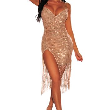 Rose Gold Sequins Ruched Slit Fringe Party Dress
