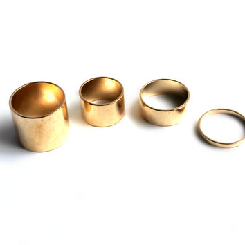 """""""Four Of A Kind"""" Gold Ring Set"""