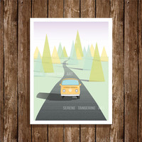 VW Bus Road Trip Retro Illustration 8x10 Art Print, Digital Print, Home Decor, Wall Art, Instant Download, Printable Art