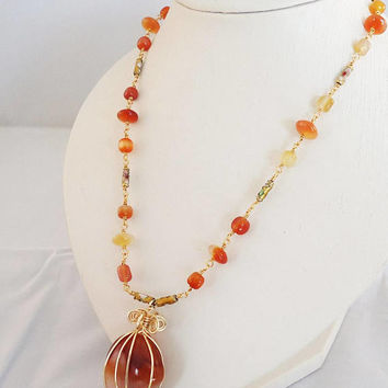 Carnelian Necklace, Wire Wrapped Carnelian Pendant, Carnelian Necklace with Pendant, Handmade Carnelian Necklace, Orange Gemstone Necklace