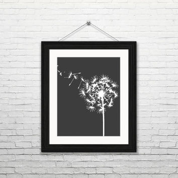 Dandelion, 8x10 instant download, printable art, digital print, home decor, housewarming gift, black and white dandelion, minimalist