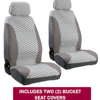Seat Covers - Zig Zag Chevron Gray/White w/ Separate Headrests (PAIR) - USA MADE