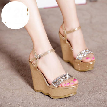 Women's Summer Fashion High Platform Wedges Small Size Shoes Online Elegant Rhinestone Sandals On Sale High Quality