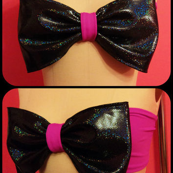 Bow bandeau/ Bikini top- Black Hologram/ Fuschia