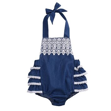 Cute Newborn Baby Girls Ruffles Lace Floral Sleeveless Cotton Romper Jumpsuit Cake Outfits