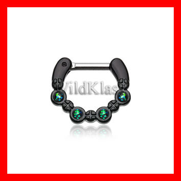Black Septum Clicker Aurea Sparkle 16g 14g Septum Ring Cartilage Earrings Nipple Ring Circular Barbell Tragus Jewelry Helix Conch