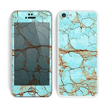 The Cracked Teal Stone Skin for the Apple iPhone 5c