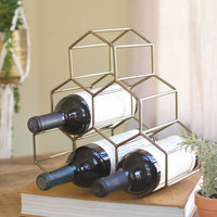 Wire Geometric Wine Bottle Holder- Antique Brass