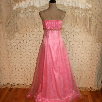 Vintage 80s Pink Formal Dress Vintage Prom Dress Princess Dress Floor Length Gown Evening Dress NWT Spaghetti Straps Size 2 Size 4 XS Small