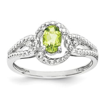 Sterling Silver Peridot And Diamond Beaded Swirl Ring