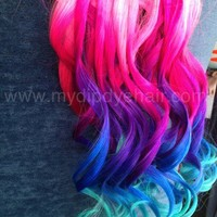 Ombre Hair Extensions//Black Hair with Vibrant Pink Purple and Blue