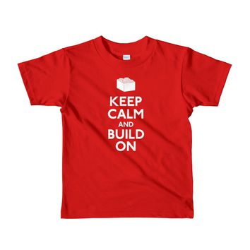 Keep Calm and Build On Short sleeve kids t-shirt