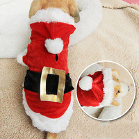 Pet Dog Christmas Clothes Santa Claus Costume Fancy Dress Outfit Apparel Gift