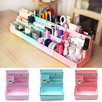 Random Color!!! 2016 Hot Sale DIY Paper Board Makeup Cosmetic Storage Box Container Desk Decor Stationery Case Organizer Top