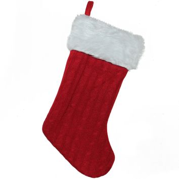 """15.75"""" Red and White Cable Knit and Faux Fur Cuff Decorative Christmas Stocking"""
