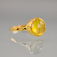 Stackable Ring - Yellow Chalcedony Ring - Gemstone Ring - Gold Ring - Bezel Set Ring
