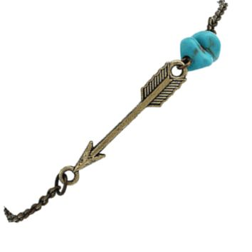 ON SALE - Turquoise Accented Bronze Arrow Bracelet