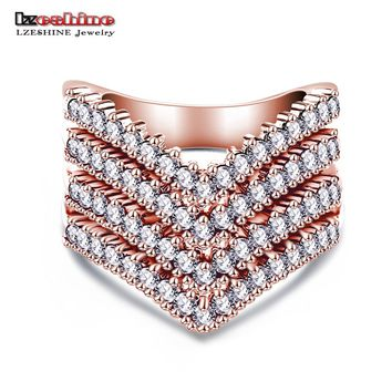 LZESHINE New Fashion Female Wedding Bands Jewelry Rose Gold Color Engagement Ring for Women CZ Stone Paved Promise Rings CRI0333