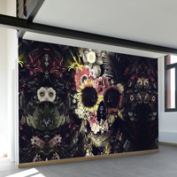 Warped Garden Skull Wall Mural