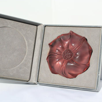 Vintage Lalique Jimson Rose Signed Crystal Paperweight in Box, Frosted Lavender Lalique Flower Paperweight, Lalique crystal, Lalique Glass