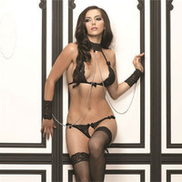 LACE HALTER BRA AND G-STRING WITH CUFFS BLACK ONE SIZE