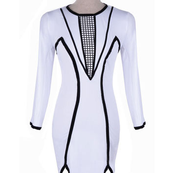 White Long Sleeve Bandage Mini Slit Bodycon Dress