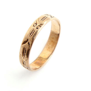 Antique 10K Rose Gold Victorian Ring - Late 1800s Knuckle Midi Baby Fine Jewelry / Etruscan Eternity