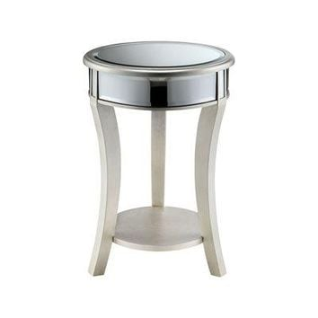 Round Mirrored Side Table with Shelf