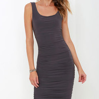 Posh and Polished Charcoal Grey Midi Dress
