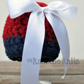 Baby Hat Newborn Crochet Hat Red White Blue July by knoodleknits