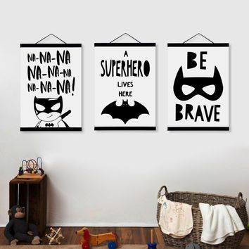 Batman Dark Knight gift Christmas Kawaii Black and White Batman Posters Nordic Style Kids Room Decor Quotes Scroll Wall Art Pictures Wooden Framed Canvas Painting AT_71_6