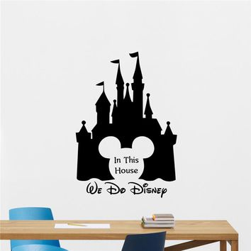 In This House We Do Cartoon Wall Decal Mickey Mouse Castle Vinyl Sticker wall stickers for kids rooms Wall Decor Wall Decals 907
