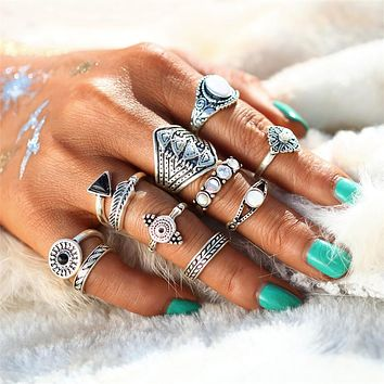 Bohemian Triangles and Gems Ring Set