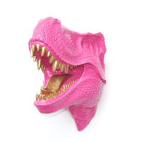 T-Rex Dinosaur Head Wall Mount - Hot Pink - Gold Teeth And Tongue - Dinosaur Faux Taxidermy TX1608