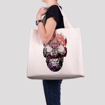 Flower Skull Tote Bag, Sugar Skull Large Beach Bag, Floral Skull OverSized Bag
