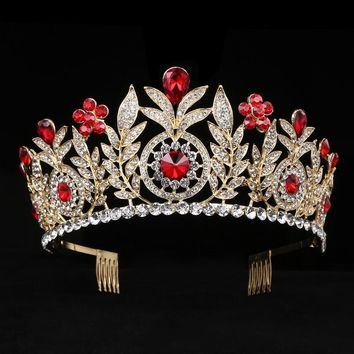Large Crystal Tiaras Rhinestone Queen Crowns Wedding Hair Acces a6214f500