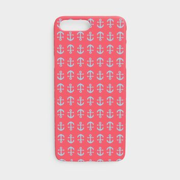 Anchor Toss Cell Phone Case iPhone 7 / 8 - Light Blue on Coral