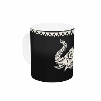"Famenxt ""Ornamental Indian Elephant"" Black White Digital Ceramic Coffee Mug"