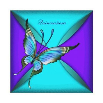 Teal Blue Butterfly Quinceanera 15th Birthday Invites from Zazzle.com