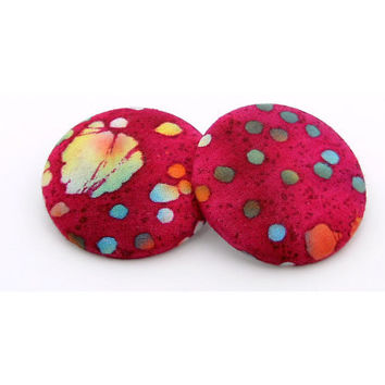 Extra Large Pink Batik Fabric Button Earrings