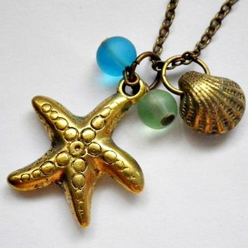 starfish, clam and sea glass necklace