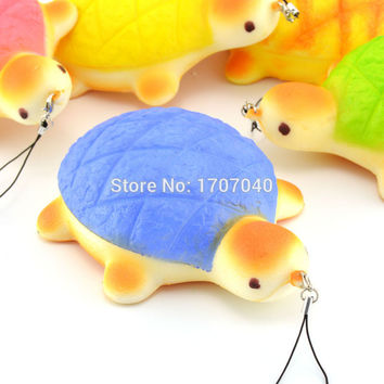 14CM Jumbo Squishy Colorful Turtle Cellphone Straps Bread Scented Fun Hand Pillow Kids Toy