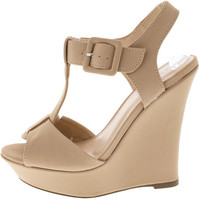 POMPEY54 NUDE BUCKLE T-STRAP WEDGE