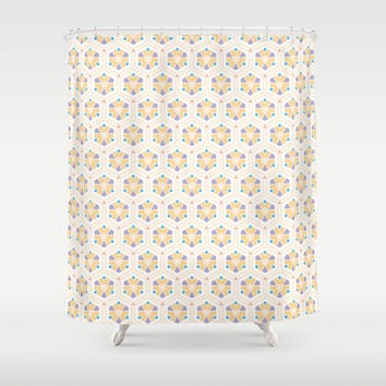 Abstract Geometric Kids Pattern Shower Curtain by Cinema4design