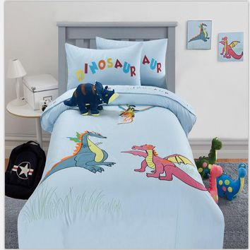 100%cotton twin full queen size home textile embroidered cartoon animal dinosaur 3/4pcs blue bedding set without comforter